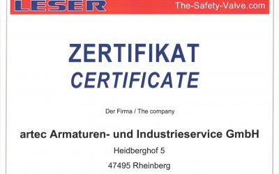 LARC Zertifizierung für die Reparatur von LESER Sicherheitsventilen